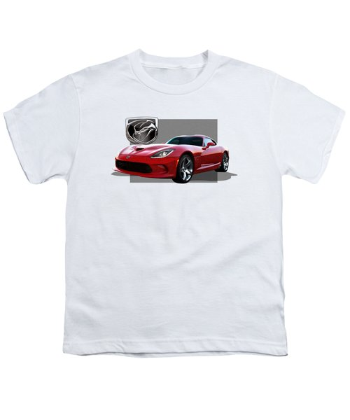S R T  Viper With  3 D  Badge  Youth T-Shirt by Serge Averbukh