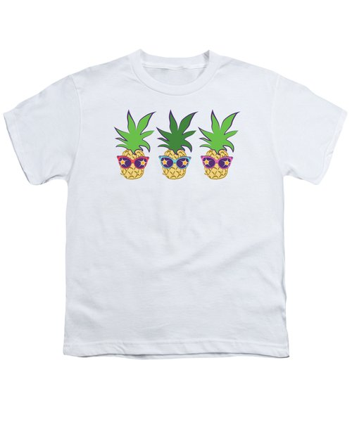 Summer Pineapples Wearing Retro Sunglasses Youth T-Shirt by MM Anderson