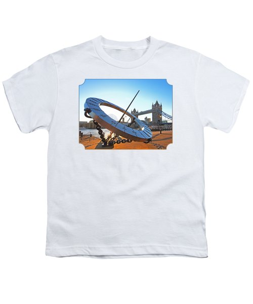 Sun Dial And Tower Bridge London Youth T-Shirt by Gill Billington