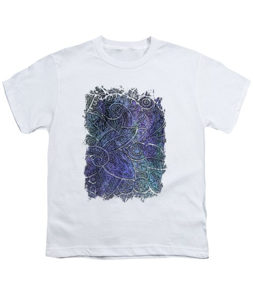 Swan Dance Berry Blues 3 Dimensional Youth T-Shirt by Di Designs