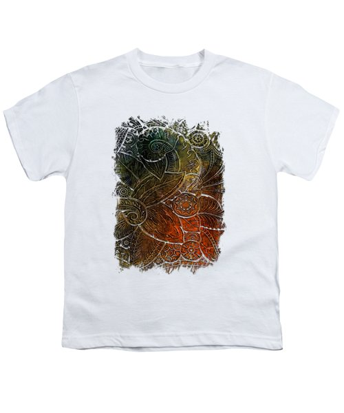 Swan Dance Earthy Rainbow 3 Dimensional Youth T-Shirt by Di Designs