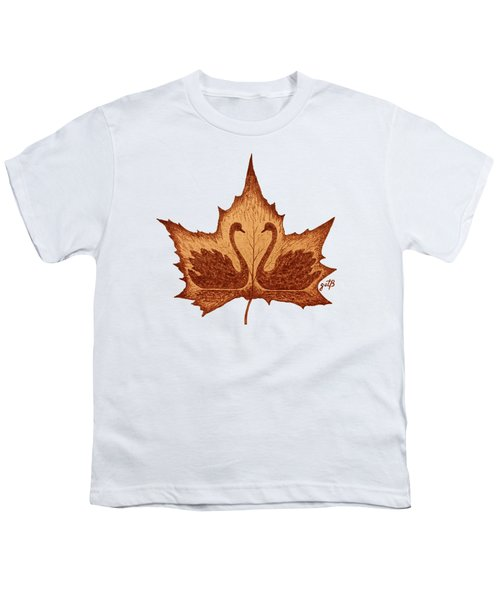 Swans Love On Maple Leaf Original Coffee Painting Youth T-Shirt by Georgeta Blanaru