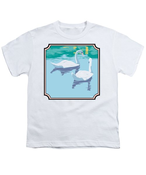 Swans On The Lake And Reflections Absract - Square Format Youth T-Shirt by Walt Curlee