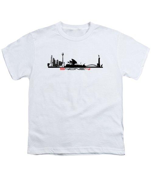 Sydney Skyline Black Youth T-Shirt by Justyna JBJart