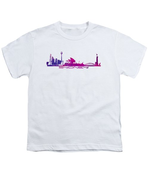 Sydney Skyline Purple Youth T-Shirt by Justyna JBJart