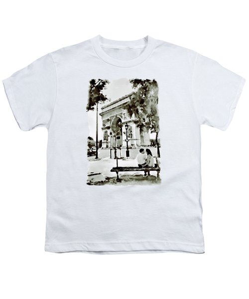 The Arc De Triomphe Paris Black And White Youth T-Shirt by Marian Voicu