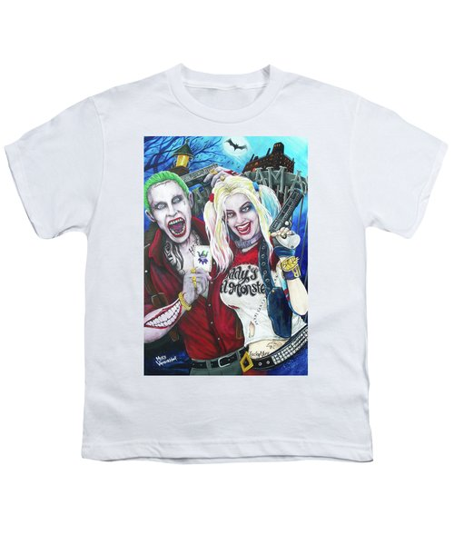 The Joker And Harley Quinn Youth T-Shirt by Michael Vanderhoof