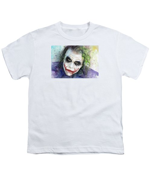 The Joker Watercolor Youth T-Shirt by Olga Shvartsur