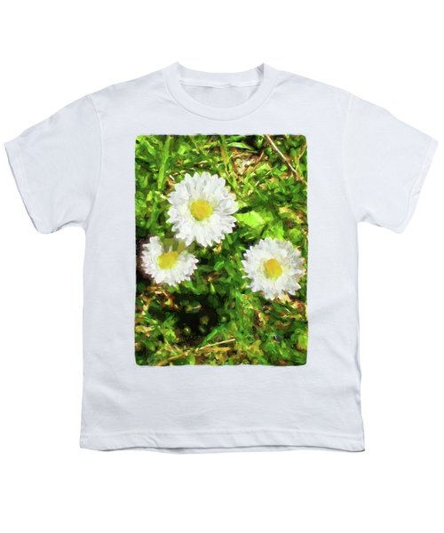 Three Daisies In The Sun Youth T-Shirt by Jackie VanO