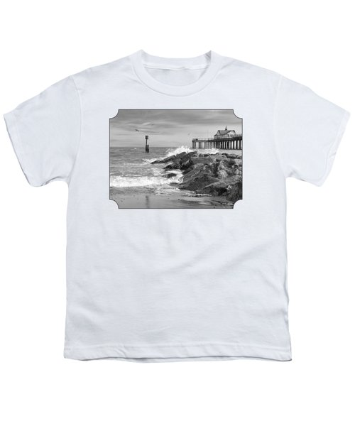 Tide's Turning - Black And White - Southwold Pier Youth T-Shirt by Gill Billington
