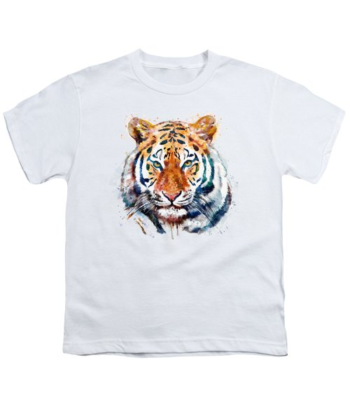 Tiger Head Watercolor Youth T-Shirt by Marian Voicu