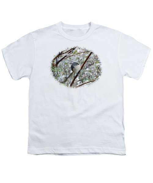 Titmouse On Snowy Branch Youth T-Shirt by Larry Bishop