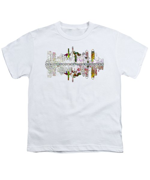 Tokyo Skyline On White Youth T-Shirt by John Groves
