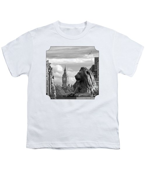 Trafalgar Square Lion With Big Ben In Black And White Youth T-Shirt by Gill Billington
