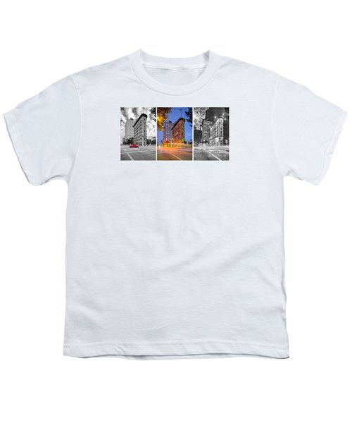 Triptych Of The Flatiron Building In Downtown Fort Worth - Texas  Youth T-Shirt by Silvio Ligutti