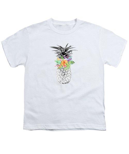 Tropical Pineapple Flowers Aqua Youth T-Shirt by Dushi Designs