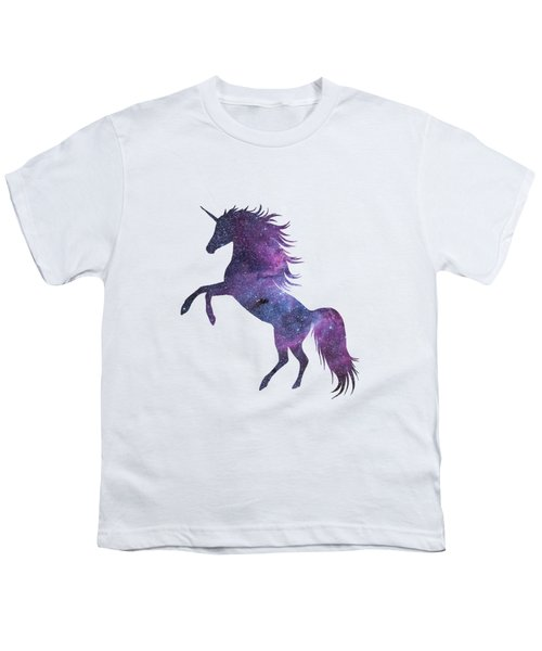 Unicorn In Space-transparent Background Youth T-Shirt by Jacob Kuch