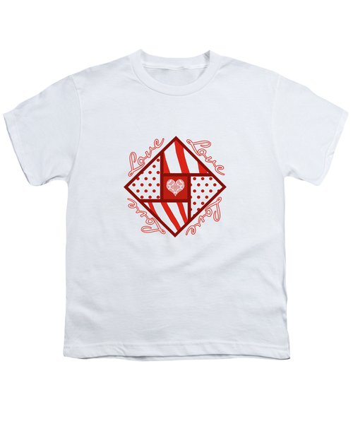 Valentine 4 Square Quilt Block Youth T-Shirt by Methune Hively