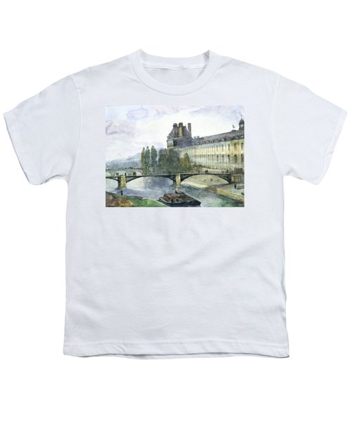 View Of The Pavillon De Flore Of The Louvre Youth T-Shirt by Francois-Marius Granet