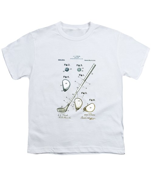 Vintage 1910 Golf Club Patent Youth T-Shirt by Digital Reproductions