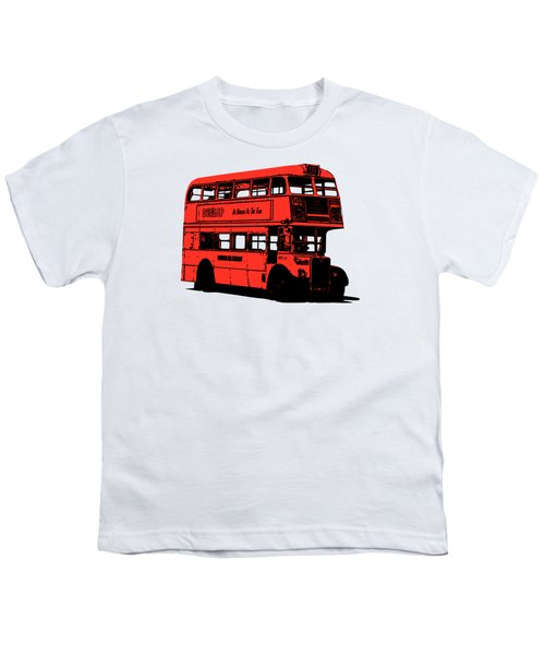 Vintage Red Double Decker London Bus Tee Youth T-Shirt by Edward Fielding