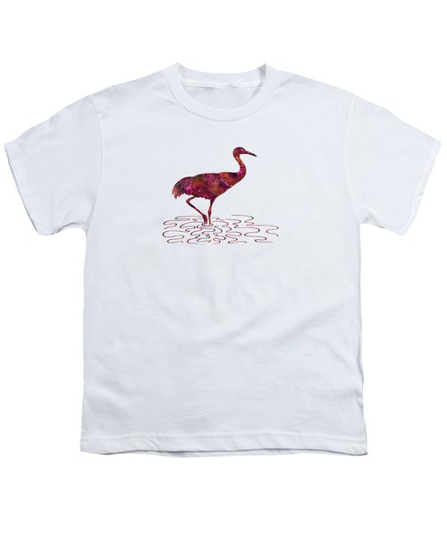 Colorful Sandhill Crane Silhouette Youth T-Shirt by Shara Lee
