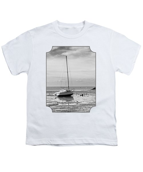 Waiting For High Tide Black And White Youth T-Shirt by Gill Billington