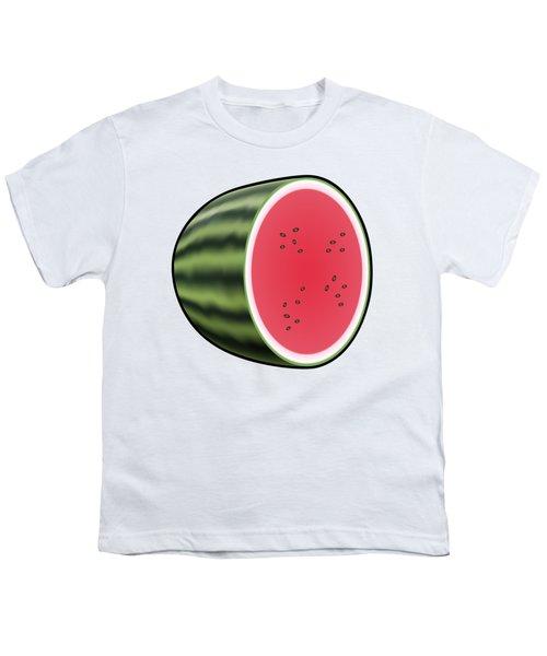 Water Melon Outlined Youth T-Shirt by Miroslav Nemecek
