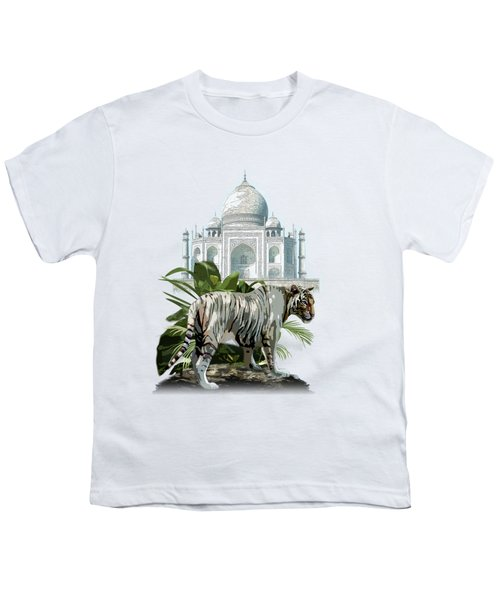 White Tiger And The Taj Mahal Image Of Beauty Youth T-Shirt by Regina Femrite