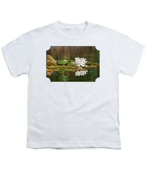 White Water Lily With Damselflies Youth T-Shirt by Gill Billington
