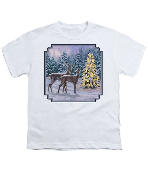 Whitetail Christmas Youth T-Shirt by Crista Forest
