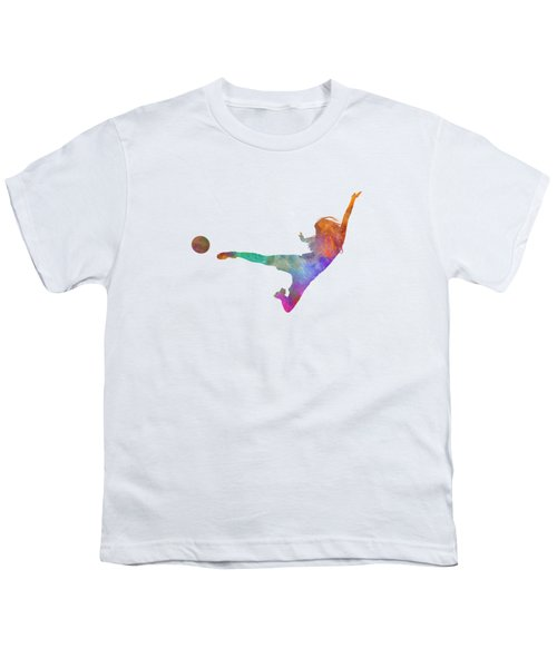 Woman Soccer Player 02 In Watercolor Youth T-Shirt by Pablo Romero