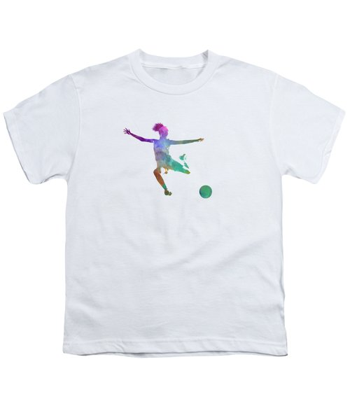 Woman Soccer Player 03 In Watercolor Youth T-Shirt by Pablo Romero