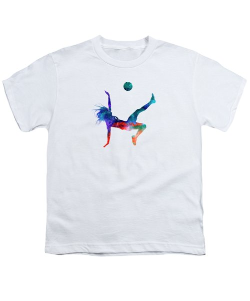 Woman Soccer Player 08 In Watercolor Youth T-Shirt by Pablo Romero