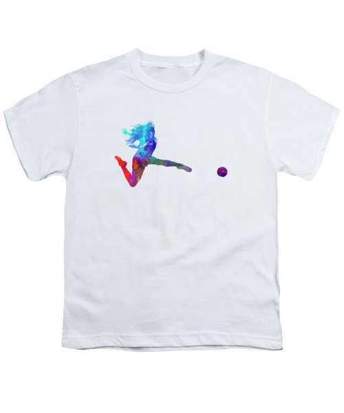 Woman Soccer Player 16 In Watercolor Youth T-Shirt by Pablo Romero