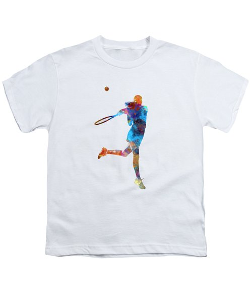 Woman Tennis Player 03 In Watercolor Youth T-Shirt by Pablo Romero