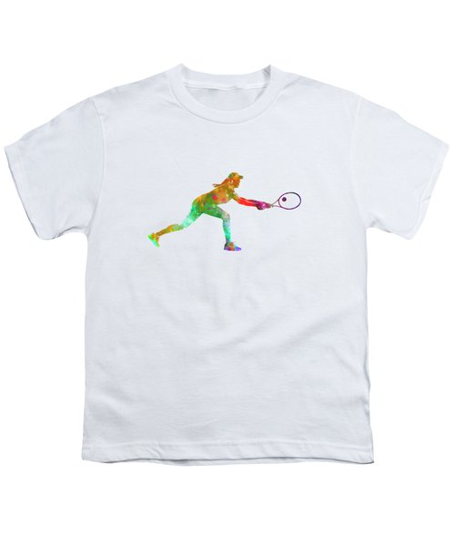 Woman Tennis Player Sadness 02 In Watercolor Youth T-Shirt by Pablo Romero
