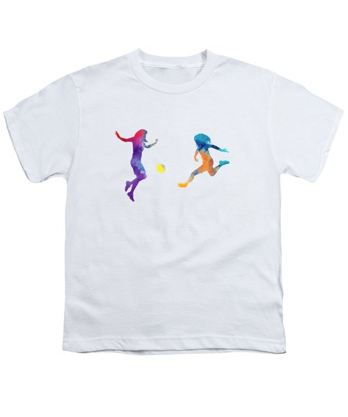 Women Soccer Players 01 In Watercolor Youth T-Shirt by Pablo Romero