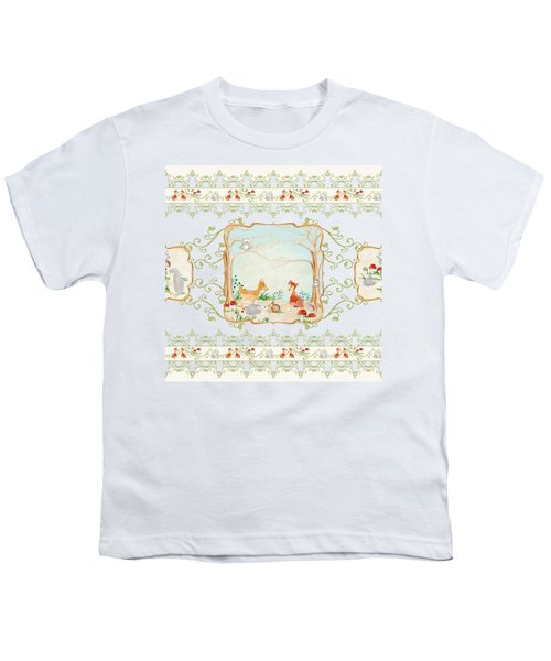 Woodland Fairy Tale - Aqua Blue Forest Gathering Of Woodland Animals Youth T-Shirt by Audrey Jeanne Roberts