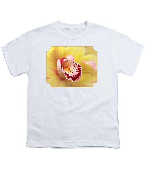 Yellow Cymbidium Orchid Youth T-Shirt by Gill Billington
