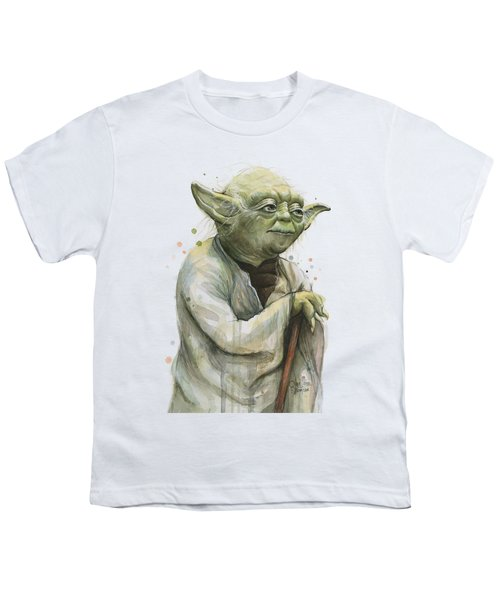 Yoda Watercolor Youth T-Shirt by Olga Shvartsur