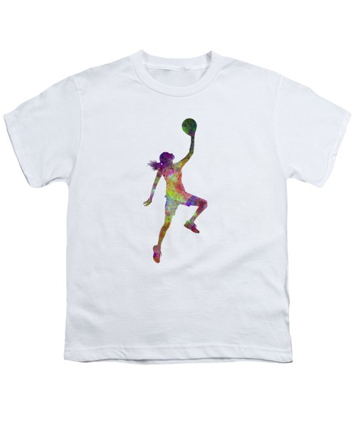 Young Woman Basketball Player 02 In Watercolor Youth T-Shirt by Pablo Romero