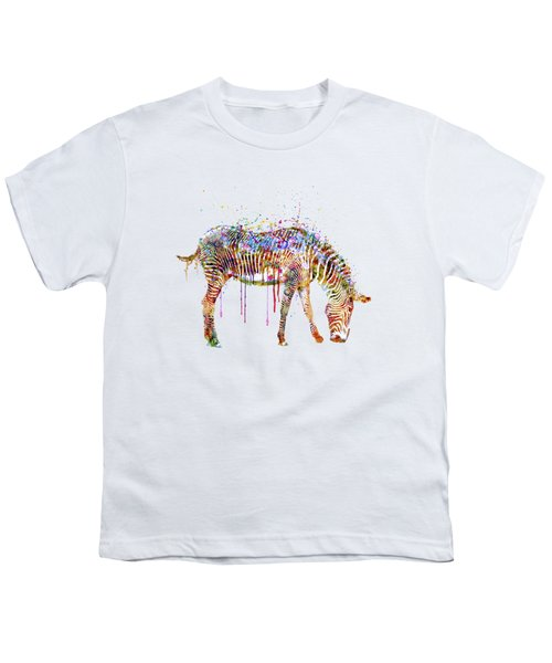 Zebra Watercolor Painting Youth T-Shirt by Marian Voicu