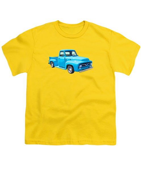 1955 Ford F100 Blue Pickup Truck Canvas Youth T-Shirt by Keith Webber Jr