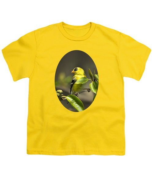 American Goldfinch On Branch Youth T-Shirt by Christina Rollo