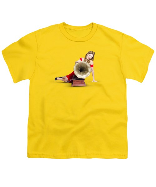 Beautiful Pinup Woman Listening To Old Gramophone Youth T-Shirt by Jorgo Photography - Wall Art Gallery