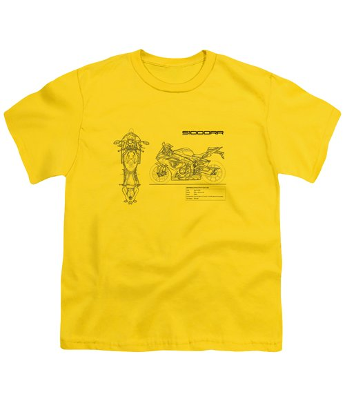 Blueprint Of A S1000rr Motorcycle Youth T-Shirt by Mark Rogan