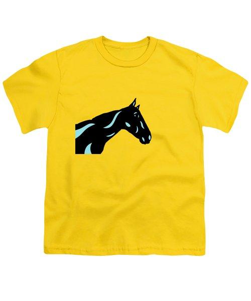 Crimson - Pop Art Horse - Black, Island Paradise Blue, Primrose Yellow Youth T-Shirt by Manuel Sueess