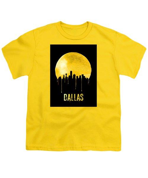 Dallas Skyline Yellow Youth T-Shirt by Naxart Studio
