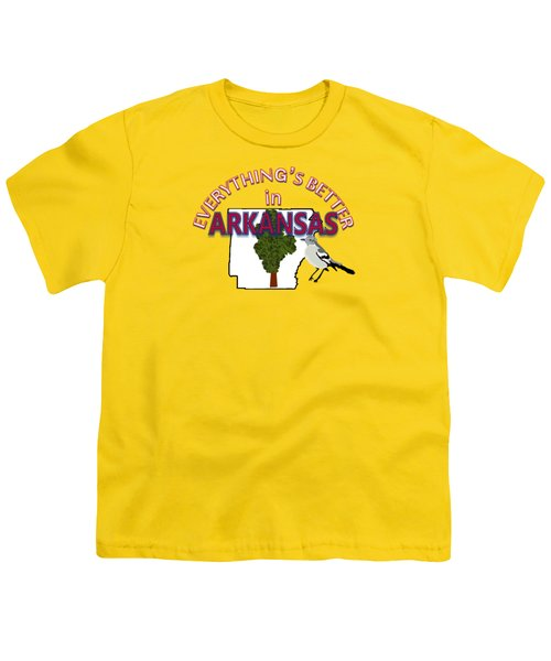 Everything's Better In Arkansas Youth T-Shirt by Pharris Art